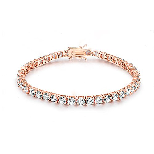 NYC Sterling 3mm Round Cubic Zirconia Classic Tennis Bracelet (Rose-Gold-Plated-Brass)