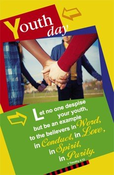 Youth Day Worship Bulletin (9883) - ''Youth day - Let no one despise...'' - Bible Scripture - (Package of 100) by Hermitage Art