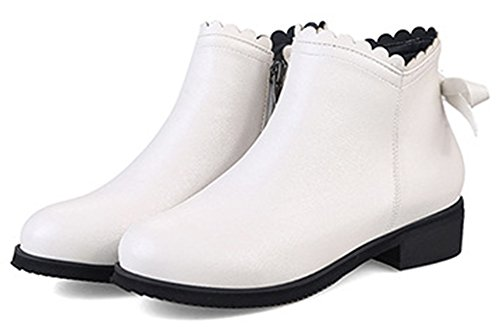 Idifu Mujeres Elegant Bow Side Zipper Short Chelsea Botines Con Tacones Blancos
