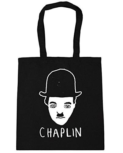 HippoWarehouse Chaplin Dibujo Bolso de Playa Bolsa Compra Con Asas para gimnasio 42cm x 38cm 10 litros capacidad Negro