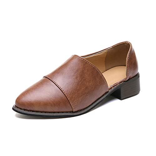 Blivener Women's Casual Slip On Loafer Pointed Toe Cut Out Slip On Office Casual Dressy Ankle Boot 03Brown EU41