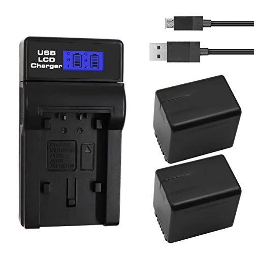 E-TS Upgraded 5000mAh Panasonic VW-VBT380 Battery Replacement 2-Pack Compatible with Panasonic HC-V210, HC-V250, HC-V380, HC-V510, HC-V520, HC-V710, HC-V720, HC-V750, HC-V770, HC-VX870, HC-VX981K