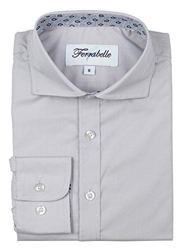 Ferrabelle Boys Long Sleeve Fashion Button Down Dress Shirt (8, Grey)]()