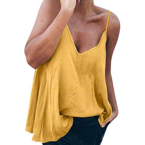 TANLANG Women's Cami Tank Tops Casual Sleeveless Shirts Blouses V Neck Wrap Front Pleated Sexy Diagonal Sling T Shirt Yellow