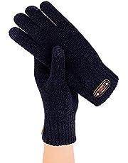Męskie dziewiarskie ekran dotykowy pogrubione ciepłe rękawiczki do jazdy elastyczne mankiety gorąca miękka podszewka elastyczny materiał bardzo ciepłe