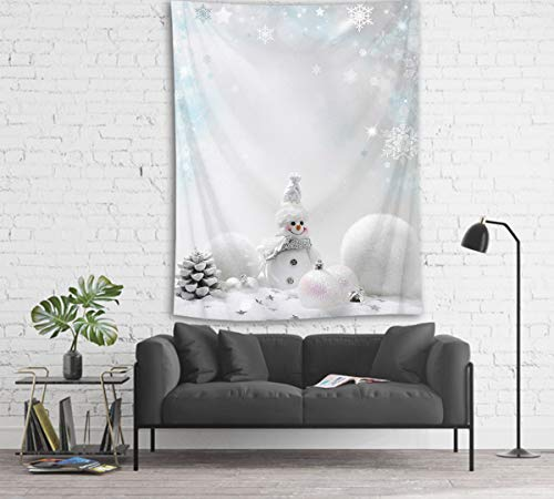 LB Christmas Tapestry White Pattern 3D Watercolor Tapestry Wall Blanket Wall Art Wall Decor Christmas Snowman Tapestry Wall Hanging for Bedroom Living Room Dorm,60 x 40 Inches