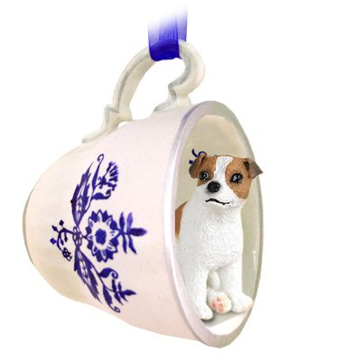 Parson Russell Terrier Figurine (Jack Russell Terrier Brown & White w/Smooth Coat Tea Cup Blue Ornament)