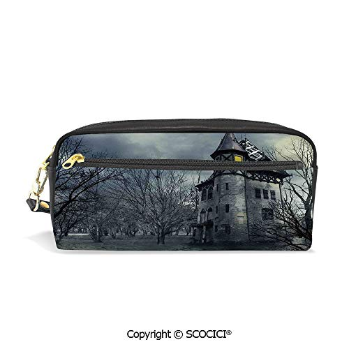 Students PU Pencil Case Pouch Women Purse Wallet Bag Halloween Design with Gothic Haunted House Dark Sky and Leafless Trees Spooky Theme Decorative Waterproof Large Capacity Hand Mini Cosmetic -
