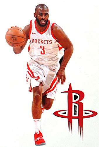 FATHEAD Chris Paul CP3 Mini Graphic + Houston Rockets Logo Official NBA Vinyl Wall Graphics - This Graphic is 7