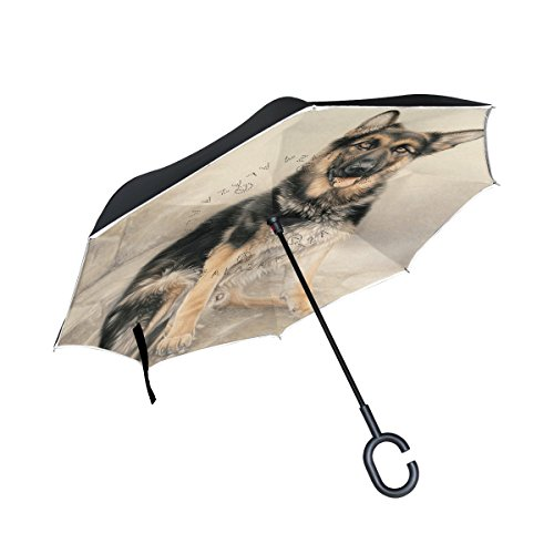 THENAHOME Reverse Inverted Auto Open Umbrella Upside Down Compact Lightweight & Windproof Waterproof Straight Umbrellas with Wolf Dog for Car & Outdoor