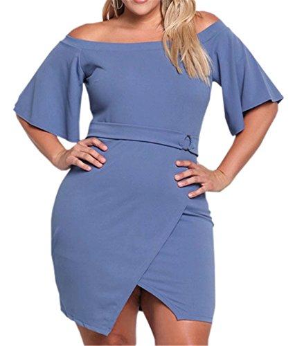 Plus Donne Bodycon Spalla Size Delle Betusline Blu Fuori Mini Abiti SRq4AcEEw7