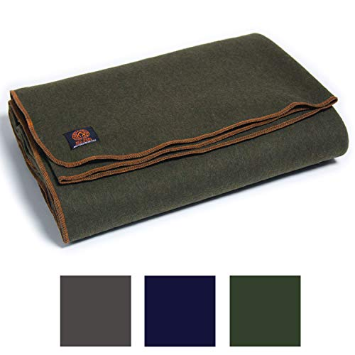 Arcturus Military Wool Blanket - 4.5 lbs, Warm, Thick, Washable, Large 64