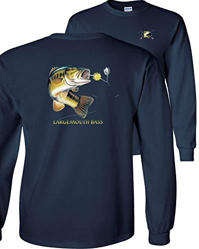 Largemouth Bass Fishing Fish - Fair Game Largemouth Bass Profile Fishing Long Sleeve T-Shirt-Navy-Medium