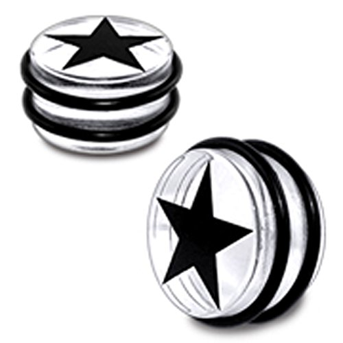 16MM Black Star with Transparent UV Ear Plug with 'O' Ring Body jewelry