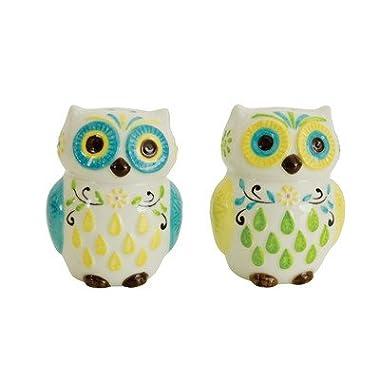 Boston Warehouse Floral Owl Salt and Pepper Shaker Set