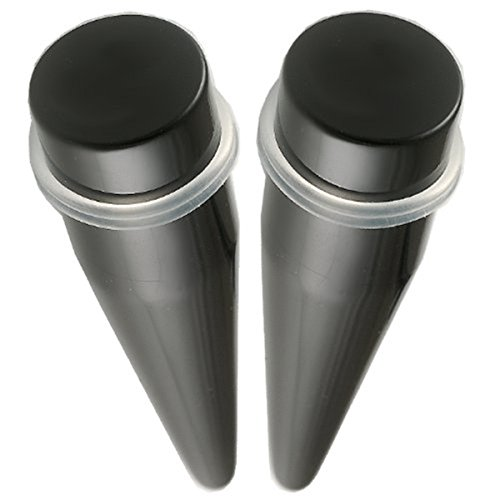 Paire oreille elargisseur lobe plug écarteur 18mm acrylique noir bijouterie piercing FFEM.