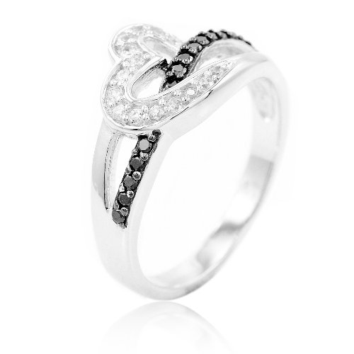 Heart Journey Ring (BaiBo 925 Sterling Silver Black and Clear Cubic Zirconia CZ Love Journey Heart Ring Ring Size 5)