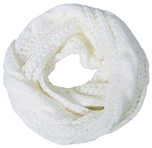Loritta Womens Winter Warm Ribbed Thick Knit Infinity Scarf Circle Loop Cowl Scarf, White