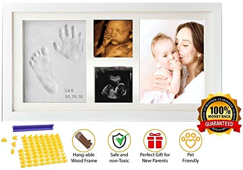 Baby Handprint and Footprint KIT & Ultrasound Picture Frame - with Silicone Mold -