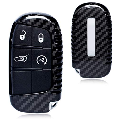 Kaizen Keyless Entry Remote Cover Carbon Fiber Key Case Fob Holder Shell for Jeep Grand Cherokee Dodge Journey Dart Challenger Charger Durango Type 02 Color - Fiber Carbon Charger Dodge