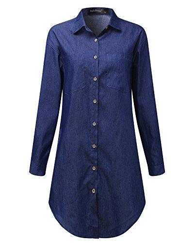 Moda Blu Lunga Bluse Donna Jeans Camicia Casual scuro Maglia Basic Shirt Elegante Manica StyleDome xXBwZTqx