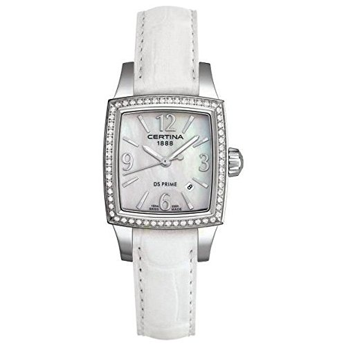 Certina Women's DS Prime 27mm White Leather Band Steel Case Quartz MOP Dial Watch C004.310.16.117.03