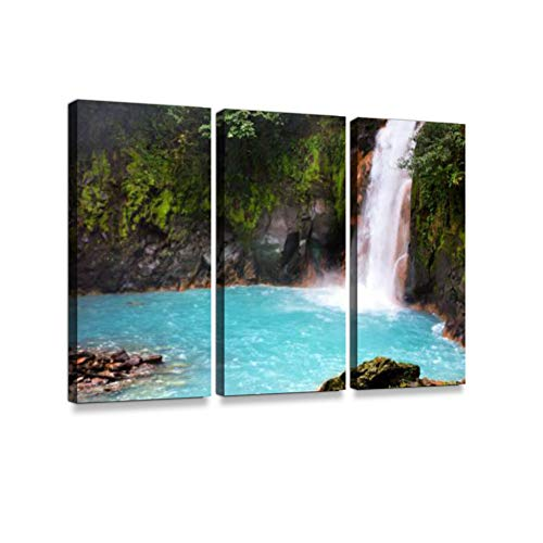 Beautiful Turquoise Water of Rio Celeste Waterfall - Nature Phenomen of Costa Rica 3 Pieces Print On Canvas Wall Artwork Modern Photography Home Decor Unique Pattern Stretched and Framed 3 Piece ()