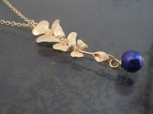 Murano Faux Pearl Glass Charm,Cascading Orchid Pendant, 14K Gold Filled Jewelry, Matte (14k Gold Murano Glass)