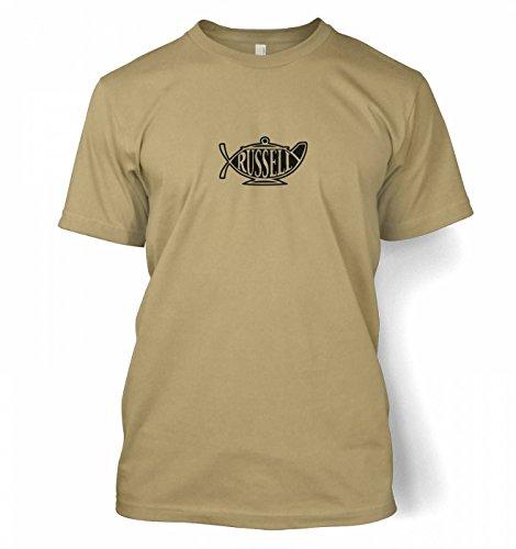 "Bertrand Russell Teapot Ichthys T-shirt - Tan X-Large (46/48"")"