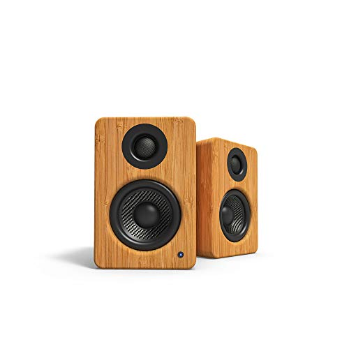 "Kanto 2 Channel Powered PC Gaming Desktop Speakers - 3"" Composite Drivers 3/4"" Silk Dome Tweeter - Class D Amplifier - 100 Watts - Built-in USB DAC - Subwoofer Output - YU2BAMBOO (Bamboo)"