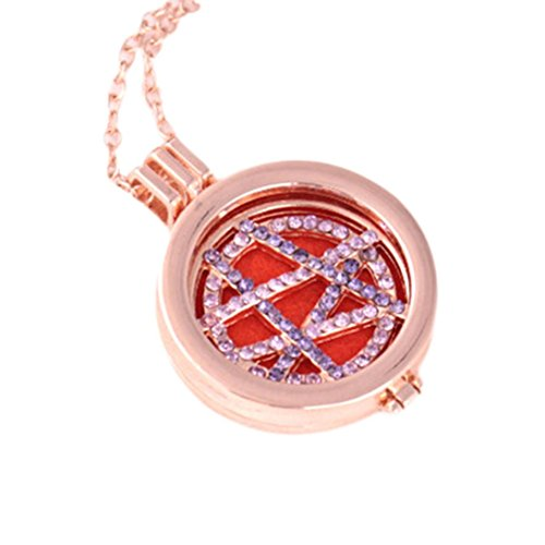 ❤Todaies❤Women Vintage Locket Necklace Essential Oil Diffuser Necklace And Pad Fragrance Valentine's Gift (Free Size, E)