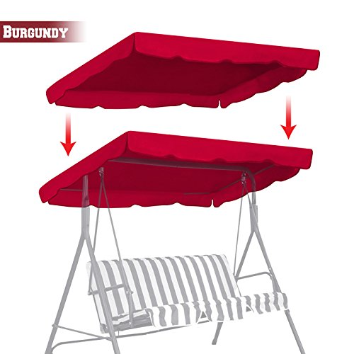 """BenefitUSA Patio Outdoor 77""""x43"""" Swing Canopy Replacement Porch Top Cover Seat Furniture (Burgundy)"""