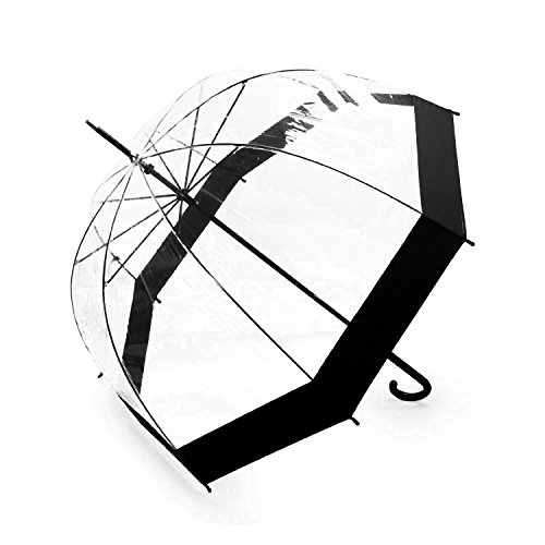 Becko Totes Light Lady's Clear & Black Elegant Bubble Golf Rain Umbrella