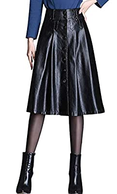 chouyatou Women's Elegant High Waist Button Front A-Line Midi Faux Leather Skirt