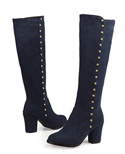 Aisun Womens Vintage Studded Round Toe Dress Block High Heels Zip Up Knee High Knight Boots Dark Blue SInVHS9N0