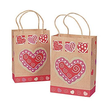 One Dozen Valentine Brown Paper Gift Bags/VALENTINE'S DAY Party Supplies/Gift Wrap/Hearts