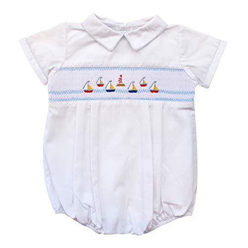 Carriage Boutique Baby Boys Hand Smocked Classic Creeper - White Mini Sail Boats, 6M