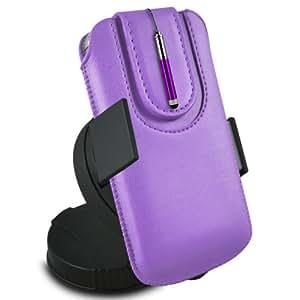 ONX3 Nokia Asha 502 Leather Slip protectora magnética de la PU de cordón en la bolsa con el caso de Quick Release, 360 que gira la horquilla del parabrisas del coche y mini pluma capacitiva Retractabletylus (púrpura)