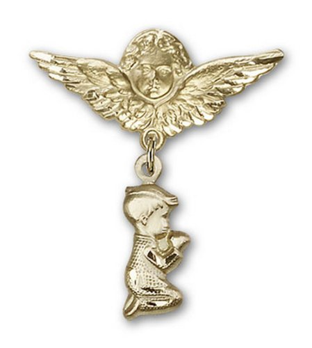 Icecarats Or Bijoux De Créateurs Rempli Prier Charme Garçon Broche De Badge Angel 1 1/4 X 1 1/8