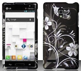 LG Optimus L9 P769 / P760 (T-Mobile) White Flowers Design Hard Case Snap On Protector Cover + Free Neck Strap + Free Animal Rubber Band Bracelet (Lg Optimus L9 Tmobile Phone Cases)