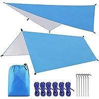 Tokenhigh Tent Tarp Waterdicht, 3M x 3M Camping Tent Tarp Shelter, Lichtgewicht Winddicht Anti UV met 6 Aluminium Stakes…