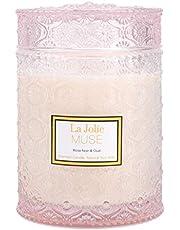 La Jolíe Muse Rose Noir & Oud świeca zapachowa, 100% naturalna świeca sojowa do domu, 90 godzin palenia, duże szklane naczynie, 19,4 oz