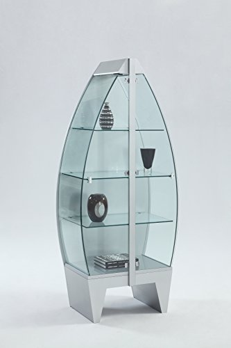 Milan Karina Chrome Row Boat Glass Curio