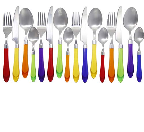Unique Brilliant Colored Mix & Match Cutlery and Silverware with Translucent Handles set of 16 pieces, Rainbow Flag Colorful Cutlery Assortment