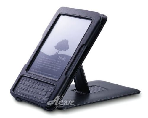 Acase Genuine Leather Flip Case for Kindle 3 (Keyboard) with Multiple Position Stand (Black)