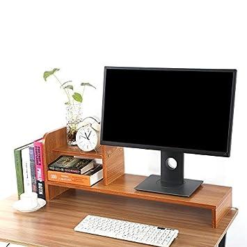 Soporte Monitor de Ordenador, Madera Elevador Monitor Portátil Monitor de Escritorio de Doble Propósito, Almacenamiento por Escritorio (Color de Teca): ...