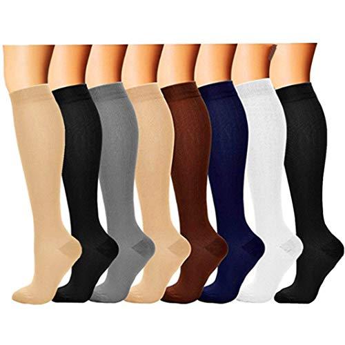 (8 Pair) Compression Socks/Stockings for Men&Women (15-20 mmHg) Best Graduated Athletic Fit for Running, Nurses, Shin Splints, Flight Travel & Maternity Pregnancy - Boost Stamina, - Splint Deluxe Knee