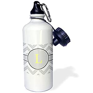 "3dRose wb_222100_1 ""Grey and white chevron with yellow monogram initial L"" Sports Water Bottle, 21 oz, White"