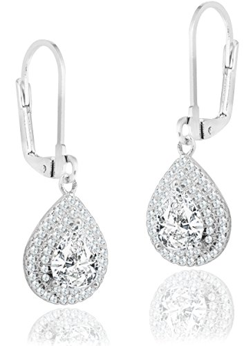Amazon Prime Deals Robert Matthew Ella 18k White Gold Dangle Earrings, Dangling Halo Earring Set for Women, Silver Cubic ZIrconia Teardrop Halo Earrings, CZ Tear Drop Double Halo Earrings - MSRP - 94 -