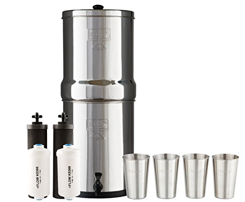 Royal Berkey Water Filter System w/ 2 Black Purifier Filters (3 Gallons) Bundled w/ 1-set of Fluoride Filters (PF2) and 1-set of 4 Boroux 12 oz Stainless Steel Cups for drinking the best tasting water by Berkey